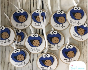 Sesame street Cookie Monster birthday party favor tags, cookie monster thank you tags, cookie monster favor tags, Cookie Monster