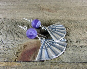 Druzy Fan Earring, Purple Druzy Dangle, Gemstone Earrings, Ethic Fan Earring
