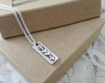 Arrow Through Heart necklace in sterling silver, silver heart arrow necklace, handmade valentine's day gift, 2 hearts pendant, silver arrow