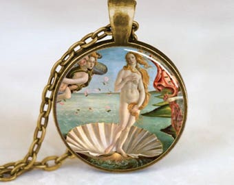 A beautiful necklace with a glass cabochon 25 mm birth of VENUS