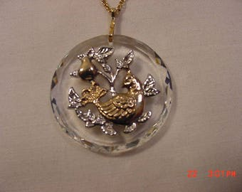 Vintage Hallmark Cards Inc. Partridge In A Pear Tree Christmas Necklace  18 - 370