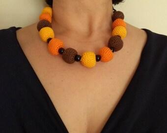 Short and earrings, handmade (crochet) necklace
