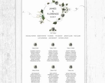 White Floral and Greenery Wreath Wedding Table Plan Seating Chart Personalised A3 A2 A1 Giclee Printed, Foamex, Printable - White Wedding