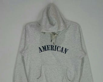 Rare!! AMERICAN hoodies nice design spell out embroidery pull over jumper grey colour small size