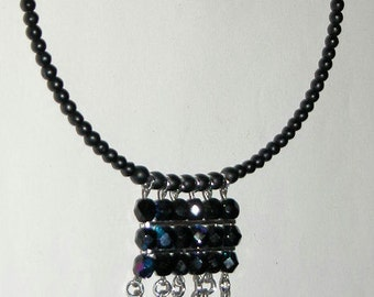 SALE  Black Crystal Bib Choker Necklace Goth Choker Faceted Beaded Vintage Iridescent Bead Choker Collar Necklace