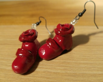 Earrings little red shoes. Mini Red clogs for your ears. Little shoes jewelry.