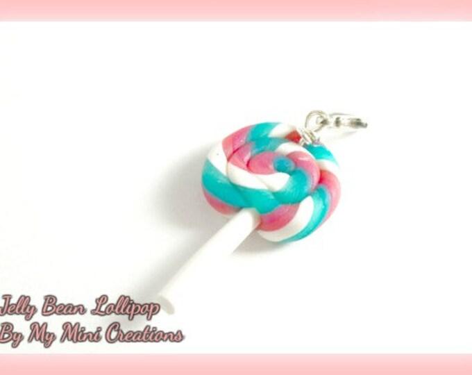 Jelly Bean Lollipop Charm , Miniature Food, Food Jewelry, Miniature Food Jewelry