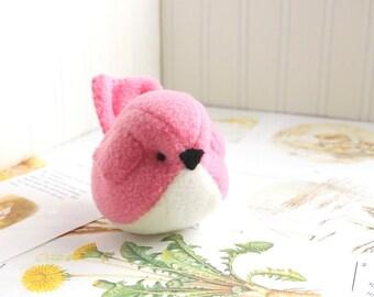 Hot Pink Plush Bird Stuffed Animal Childrens Handmade Fleece Bird