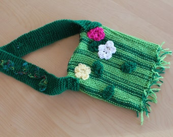 Spring Flower Over-The-Shoulder Knitted Purse