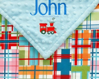 Train Blanket , Madras Plaid and Minky Dot - Personalized Blanket , Additional Embroidery Options Available - 30x36