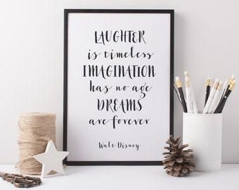 Disney Art Print - Walt Disney Quote - Disney Laughter Imagination Dreams - Walt Disney