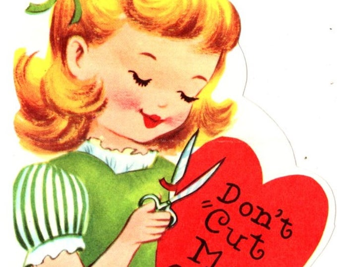 Vintage Don't Cut Me Out Die-Cut Children's Classroom Valentine's Day Card UNUSED
