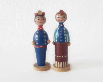Vintage Folk Figurines Couple Hand Painted Wood