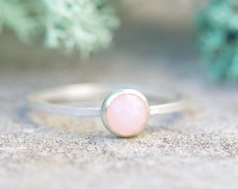 Pink Opal - Simple silver solitaire ring with Natural pink opal faceted gemstone, 5mm