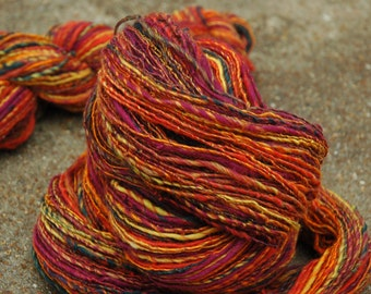 """Colorway """"Pheonix"""" Handspun Merino Wool Bamboo DK Weight Yarn"""