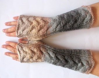 Fingerless Gloves Beige Brown Gray wrist warmers Knit