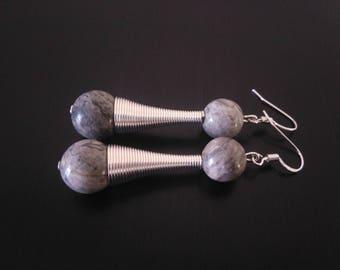 """Grey Jasper beads"" buckles."
