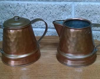 Copper Sugar and Creamer Set - Gregorian Solid Copper - Hammered Copper Sugar Bowl and Creamer - Made in USA - Vintage