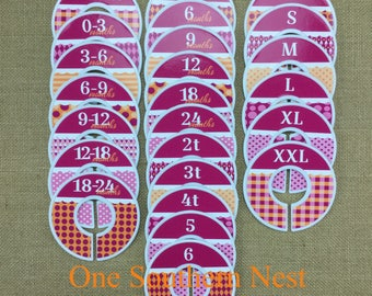 Closet Dividers, Baby Shower Gift, Newborn Baby Gift, Baby Girl Gift, Infant, Toddler, Child, size dividers, Hot Pink, Orange
