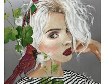 Molly Watermelon print, white hair illustration, girl portrait print, cardinal illustration,girl with bird,conceptual illustration, cardinal
