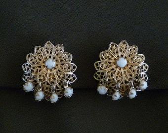 1950s Floral Filigree Earrings with White Lucite Beads
