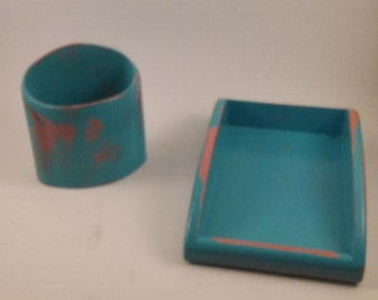turquoise office decor. Wooden | Desk Organizer Set Great Gift Co-worker Home Office Turquoise Decor T