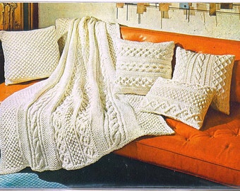 KNITTING PATTERN - Aran Afghan & Pillows 017