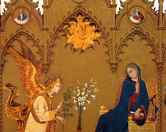 Fine Art Print - The Annunciation by Simone Martini - Masterpiece Painting - Reproduction Print - 12 x 10
