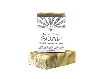 Pacific Ocean Soap handmade with real Saltwater, Seaweed and Sea Clay from the Pacific Ocean - beach gift soap bar - kelp, sea salt, sea mud