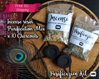 Purification Kit, Witchcraft Supplies   Wicca Supplies  Incense Burner  Charcoal Disc  Witchcraft  Wicca  Magic  Incense  Pagan