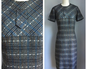 Vintage 1960's Pin Up Tweed Look Secretary Wiggle Dress XS Small