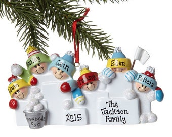 Personalized Snowball Family of 6 Ornament
