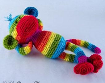 Rainbow Sock Monkey Amigurumi - PDF Crochet Pattern - Instant Download - Doll crochet Animal Cuddy Stuff Plush