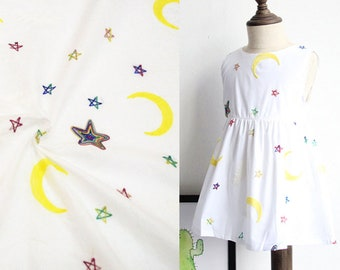 Mini Star And Moon Cotton Kid Fabric Embroidery Fabric 04102