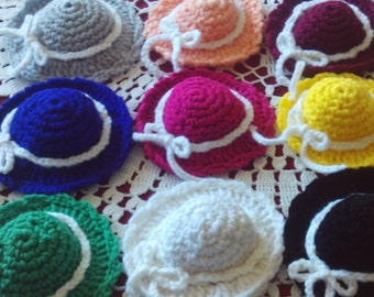 Crocheted,mini,hats,embellishments,party,favors,supplies,crafts,set of 10