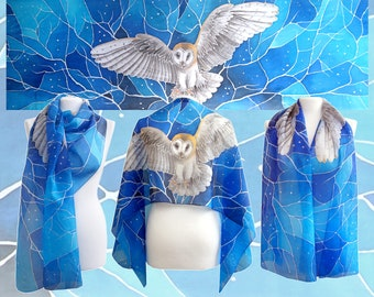 Barn Owl scarf - hand painted silk scarves - bird scarf - animal gift - flying owl gift - blue silk scarf - personalized silk scarf painted