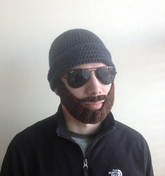 Handarbeit häkeln Bart Hut in dunklen grau-Mütze mit
