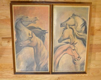 Vintage R F Harnett Horse Lithograph Print Set of 2 Wooden Frame Mid Century Equine Animal Framed Art PanchosPorch
