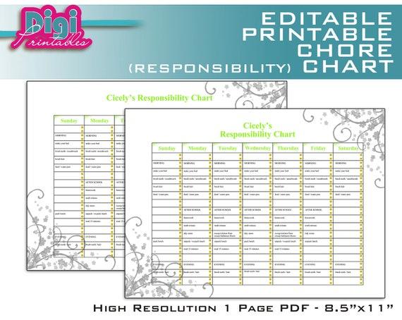 Editable / Printable Chore Chart Responsibility Chart