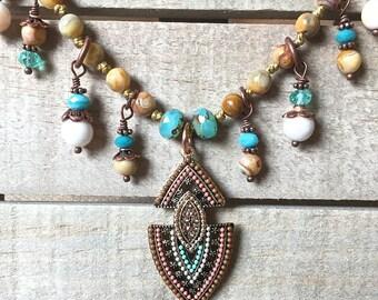 Gypsy boho hand knotted necklace, gemstone knotted necklace, handmade, bohemian, rustic vibe, gypsy spirit, arrowhead pendant, desert colors