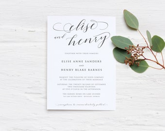 Printable Personalized DIY Modern Calligraphy Invitation Suite Template