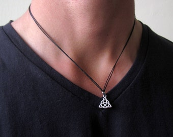 Mens silver necklace mens celtic knot necklace mens mens celtic necklace mens necklace celtic jewelry celtic knot necklace necklace for aloadofball Image collections