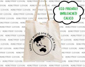 Save The World, Eco Friendly, Unbleached Calico, Tote Bag, Shopping Bag, Library Book Bag, Beach Bag, Shoulder Bag, Environmental