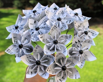 Sheet music paper flowers with stem