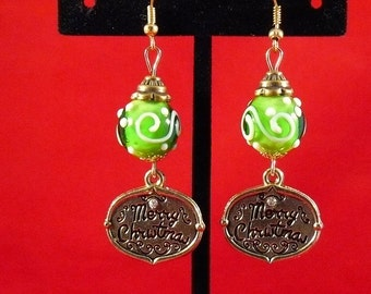 Merry Christmas Lampwork Beaded Earrings