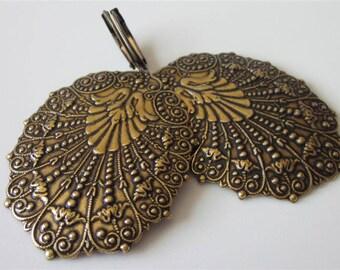 Brass Bridal Earrings, Oval Metal Medallion, Leverback Dangle Earring, Antiqued Gold, Victorian Drop, Brass Filigree Dangle