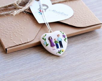 Sterling silver family necklace from polymer clay 3D handmade custom portrait // Mothers Day // Mom birthday gift // Anniversary gift