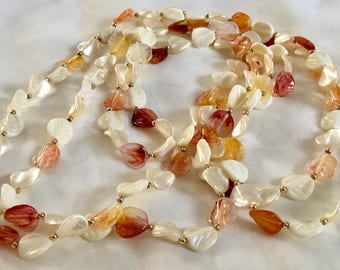 Vintage Lucite Opera Length Necklace with LeafBeads in Fall Colors