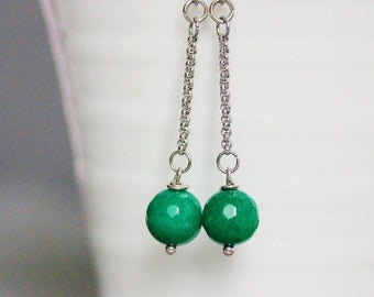 Jade Earrings Silver Jade Earrings Dangle Jade Earrings Green Jade Earrings Chain Jade Earrings Green Stone Jewelry Jade Jewelry Green Jade