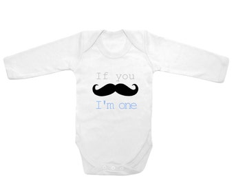 Long sleeve If you mustache i'm one cute funny printed body suit baby outfit one piece laughing giraffe 7.2 oz